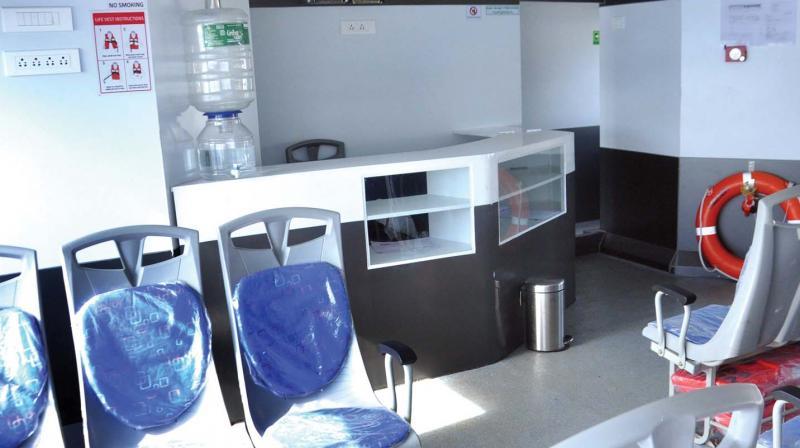 The snack bar counter aboard Vega 120.