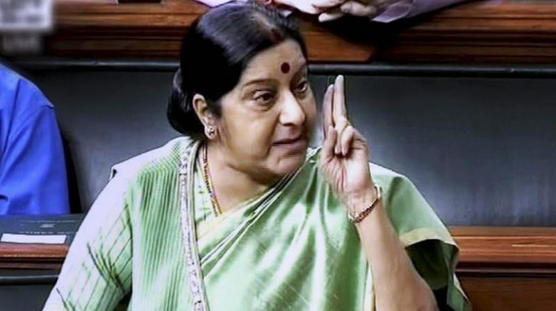 Sushma said, 'For years, Cong presented him as secular leader but near polls when they realised that Hindus are in majority, they created his new image.' (Photo: File)