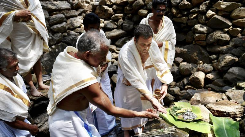 Congress President Rahul Gandhi offers prayers at Thirunelli Temple ahead of Lok Sabha elections, in Wayanad district on Wednesday.  (PTI)