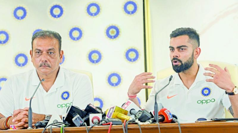 Coach Ravi Shastri and captain Virat Kohli address the media in Mumbai before Team India's departure for London. (Photo: Rajesh Jadhav)