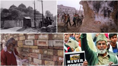 On this day, in 1992, the cadres of the right-wing Hindu groups like VHP, who called themselves 'kar sevaks', armed with weapons like swords and axe brought down the Mughal-era mosque – Babri Masjid – in Ayodhya, Uttar Pradesh. (Photos: PTI/AFP)