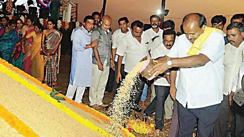 Chief Minister H.D. Kumaraswamy inaugurating a harvest festival in Mandya district.