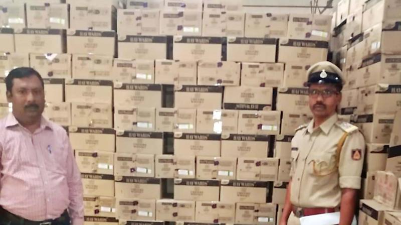 Liquor seized in Shivamogga.