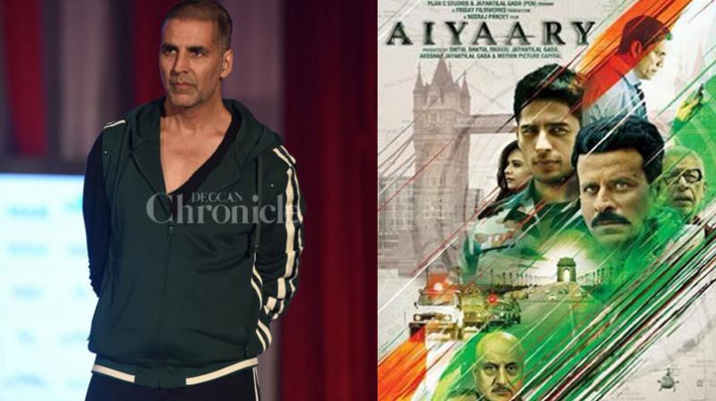 Akshay Kumar at an event; 'Aiyaary' poster.