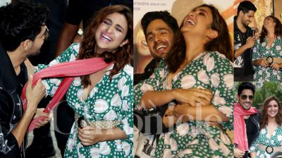 On Monday, Parineeti Chopra and Sidharth Malhotra launched their upcoming film Jabariya Jodi's trailer. The actor were looking amazing together as their outfit had a 'desi' touch. (Photos: Viral Bhayani)