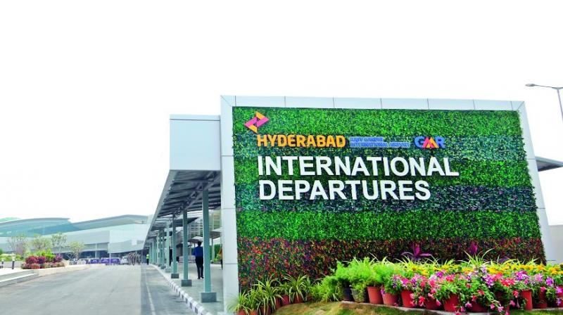 The entrance of the Hyderabad International departures.