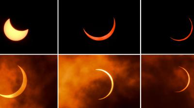 This combination of pictures created on June 21, 2020 shows the moon moving in front of the sun during an annular solar eclipse as seen from New Delhi—AFP