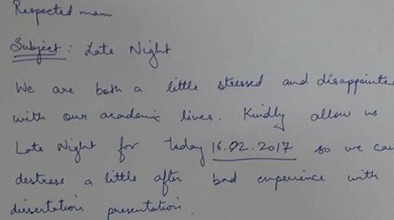 Delhi university girls asking permission for a night out leaves the the students preeti and aditi posted a photo of the hilarious permission letter they altavistaventures Choice Image