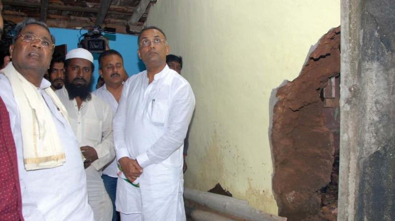 Former CM Siddaramaiah and KPPC chief Dinesh Gundurao look at a ruined building in Kodagu; (Top right) Siddaramaiah at a relief camp.(Image Dc)