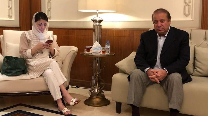 Maryam, who was accompanied by her husband, former army captain, Mohmmad Safdar and senior party leaders, was wearing a shirt with a picture of Sharif that read- 'Free Nawaz Sharif' when she arrived for the hearing. (Photo: ANI)