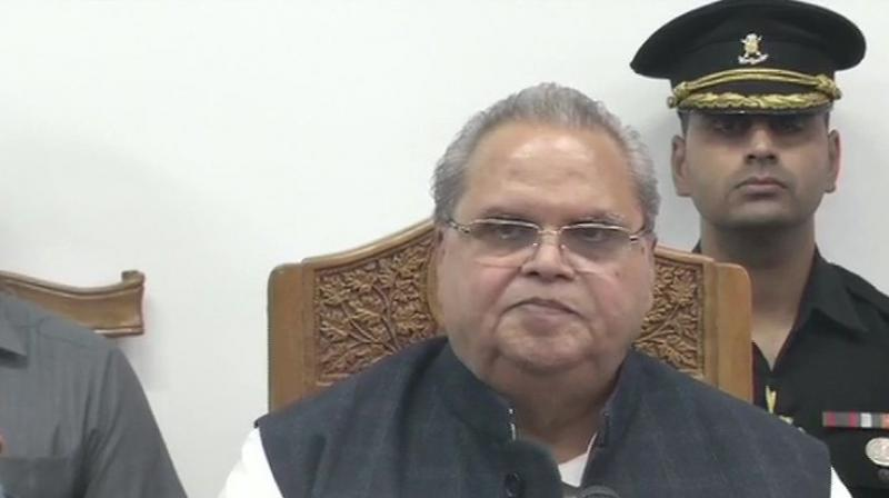 Jammu and Kashmir governor Satya Pal Malik briefed the media. (Photo: ANI)