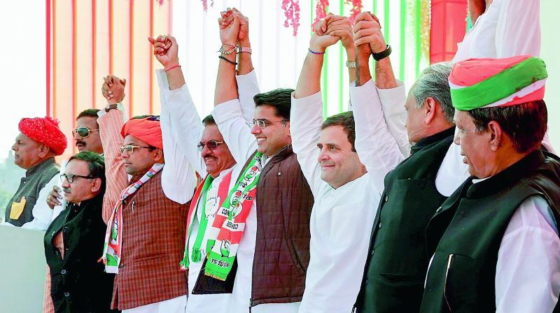 Congress president Rahul Gandhi addressing a public meeting in Chittorgarh, Saturday. (PTI)