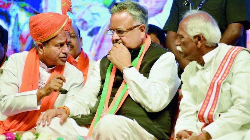Chhattisgarh Chief Minister Raman Singh along with BJP leaders Bandaru Dattatreya and C. Ramchandra Reddy campaign in Khairatabad on Saturday.  (DC)