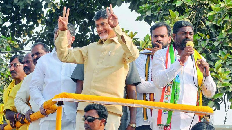 Andhra Pradesh Chief Minister N. Chandrababu Naidu campaigns along with the contesting candidate Ganesh Gupta at Rajendranagar constituency on Saturday.  (DC)