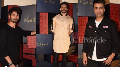 B-town celebs Shahid Kapoor, Karan Johar, Harshvardhan Kapoor, Sikandar Kher, Prateik Babbar clicked at Kunal Rawal's fashion store. (Photos: Viral Bhayani)