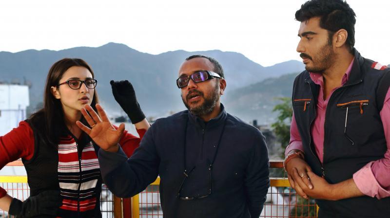 Arjun Kapoor and Parineeti Chopra with director Dibakar Banerjee during the shoot.