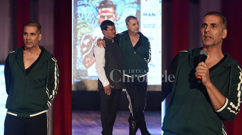 Bollywood superstar Akshay Kumar, director R Balki and real-life PadMan Arunachalam Muruganantham were present at the prestigious IIT Mood Indigo festival to promote their upcoming social drama film 'PadMan'. (Photos: Viral Bhayani)