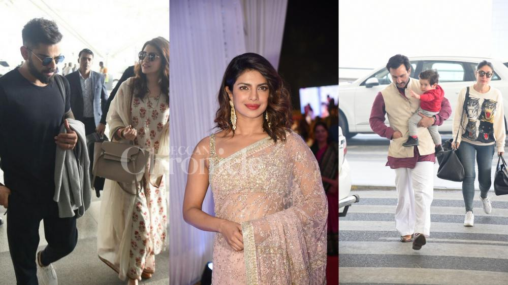 Celebs spotted: Saifeena, Virushka at the Airport, Priyanka at wedding