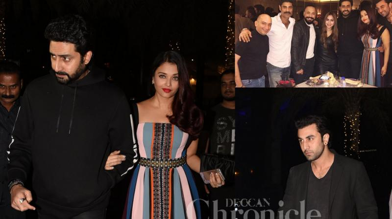 Aishwarya Rai Bachchan and husband Abhishek Bachchan, Ranbir Kapoor were present at the birthday bash of close friend Bunty Walia. While Aishwarya and Abhishek's entry grabbed attention, their exit along with Ranbir was also a head-turner. (Pictures: Viral Bhayani)