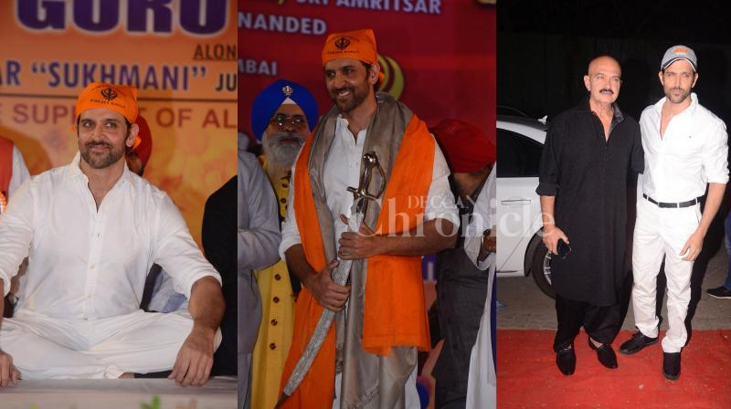 Hrithik Roshan was present at the Sikh community function along with his father Rakesh Roshan. (Photos: Viral Bhayani)