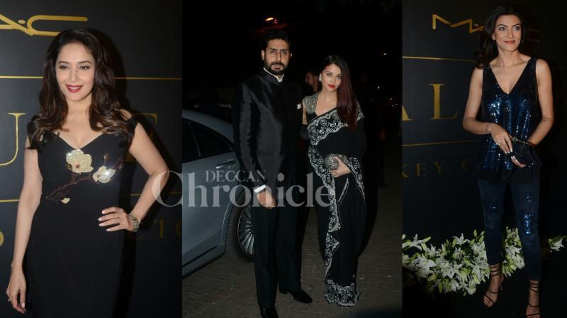 Bollywood divas Aishwarya Rai Bachchan, Madhuri Dixit-Nene, Sushmita Sen, others gathered at make up artist Mickey Contractor's brand celebration last night. (Photos: Viral Bhayani)