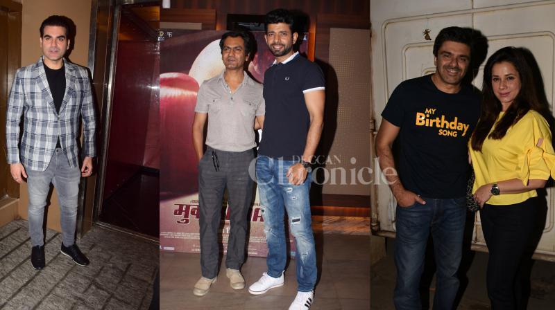 Bollywood actors Nawazuddin Siddiqui, Vineet Kumar Singh were spotted at 'Mukkabaaz' screening, Arbaaz Khan at the premiere of his film 'Nirdosh', and Sameer Soni and wife Neelam Kothari looked perfect together at 'My Birthday Song' screening. (Photos: Viral Bhayani)