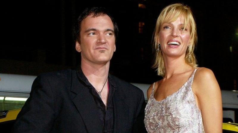 Uma Thurman with Quentin Tarantino .