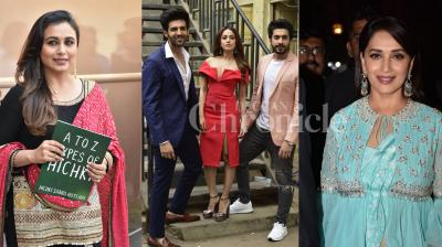 Rani Mukerji, Nushrat Bharuch, Sunny Singh and Kartik Aaryan promote their upcoming film, Madhuri Dixit looked gorgeous at the event and other Bollywood celebs spotted in the city. (Photos: Viral Bhayani)
