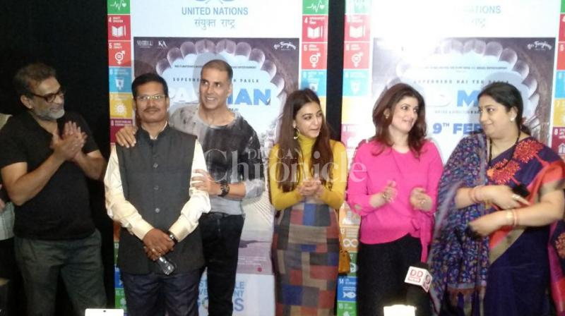 Superstar Akshay Kumar and director R Balki held a special screening of their upcoming social drama 'PadMan' for Minister of I&B Smriti Irani and others in Delhi. Akahy's wife and producer Twinkle Khanna, co-star Radhika Apte and real PadMan Arunachalam Muruganantham were also present at the event. (Photos: Viral Bhayani)