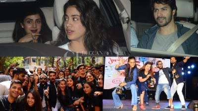 Bollywood celebs like Varun Dhawan, Janhvi Kapoor, Patralekhaa and others attended special screening of Akshay Kumar's 'PadMan' and 'Dil Juuglee' stars had a gala time promoting their film at the college. (Photo: Viral Bhayani)