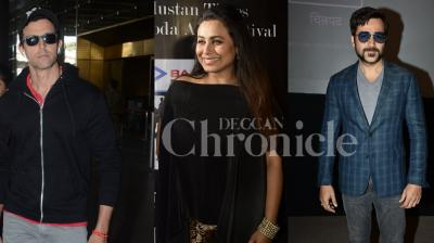 Rani Mukerji, Emraan Hashmi attended art festival in the city, Deepika Padukone and Ranveer Singh at Karan Johar's house, Urvashi Rautela at photoshoot, and Hrithik Roshan cool look at the airport. (Photos: Viral Bhayani)