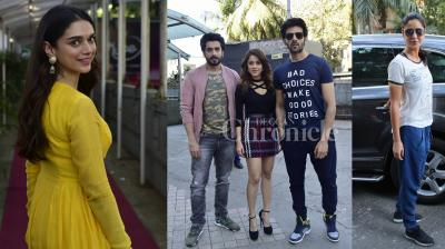 Aditi Rao Hydari looked radiant in Yellow, Katrina Kaif, SRK snapped, SKTKS stars Nushrat, Sunny and Kartik attended promotional events in the city. Checkout all others exclusive pictures of Bollywood stars. (Photos: Viral Bhayani)