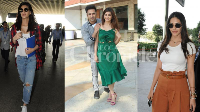 Kriti Sanon, Amyra Dastur looked pretty at the airport, Veerey Ki Wedding stars were seen promoting their film, Taimur Ali Khan and others spotted in the city. See all exclusive Bollywood pictures. (Viral Bhayani)