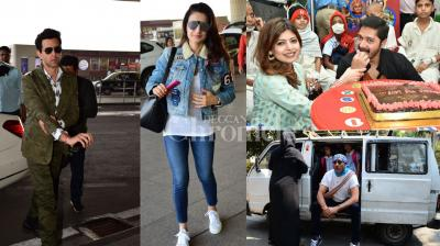Bollywood celebrities Hrithik Roshan, Jackie Shroff, Shreyas Talpade with wife Dipti, Shamita Shetty and Ameesha Patel were clicked in the city. (Photos: Viral Bhayani)