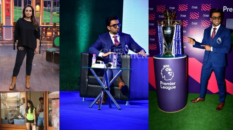 Bollywood star Ranver Singh was present at The Premier League, Rani Mukerji was promoting her film 'Hichki' on the show, Ishaan-Jhanvi were seen chilling together and see exclusive pictures of other Bollywood stars. (Photos: Viral Bhayani)