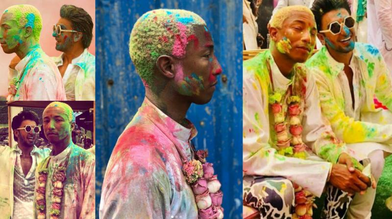 Ranveer Singh grabbed the opportunity to welcome Pharrell Williams in India by hosting a Holi party. See some amazing pictures from the party right here. (Source: Instagram)