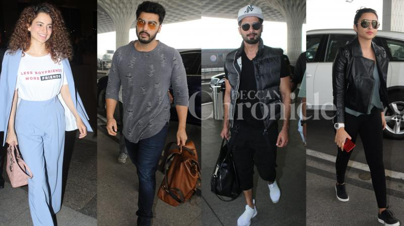 Bollywood celebrities Kangana Ranaut, Arjun Kapoor, Parineeti Chopra, Shahid Kapoor and others were spotted at the airport looking their fashionable best. Urvashi Rautela, Huma Qureshi and her brother Saqeeb Salim were seen enjoying Holi party in the city. (Photos: Viral Bhayani)