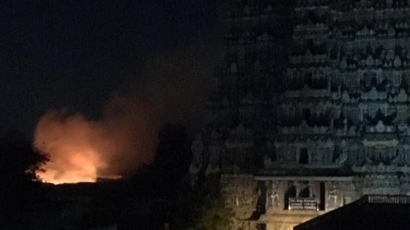 Temple authorities ruled out any sabotage and said electrical short circuit in one of the shops selling pooja articles caused the fire. (Photo: ANI/Twitter)