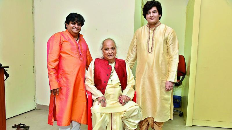 Runs in the family: Pandit Jasraj with his son Rattan Mohan Sharma (left) and grandson Swar Sharma (right). (Photo: DC)
