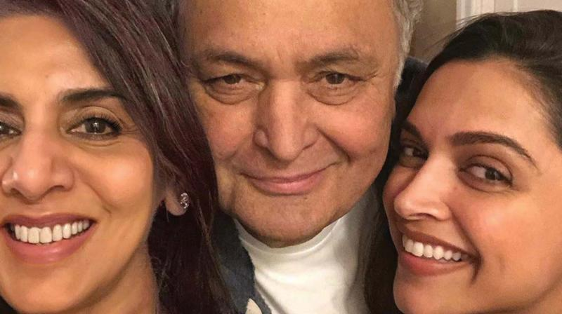 Neetu Kapoor shared a series of pictures of Deepika, Rishi Kapoor and her having a good time.