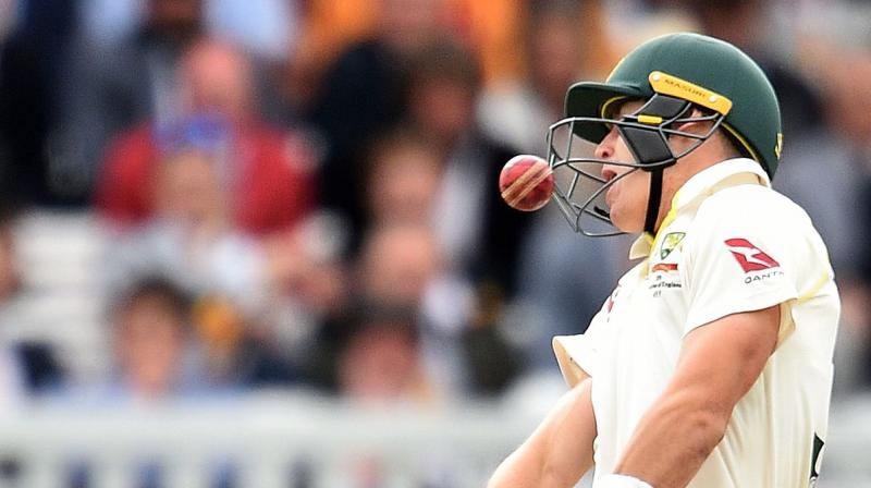 Steve Smith suffered a delayed concussion after being hit on the neck and was later ruled out of the third match starting at Headingley in Leeds on Thursday.  Labuschagne, who replaced Smith as test cricket's first concussion substitution, was struck on the protective face grill of his helmet on his second ball. (Photo:AFP)