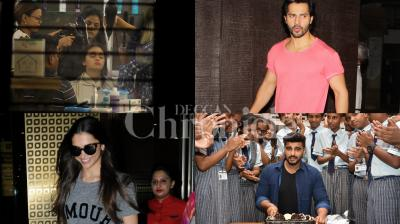 Bollywood celebs Deepika Padukone was spotted at the Mumbai airport, Alia Bhatt was seen chilling at the salon and Varun Dhawan, Arjun Kapoor, Sara Ali Khan and others were clicked in the city. See exclusive pictures of your favourite celebrities here. (Photos: Viral Bhayani)