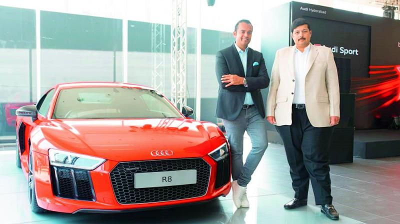 Audi India head Rahil Ansari along with Audi Hyderabad MD Rajiv Sanghvi at the launch of the new Audi showroom in Hyderabad on Thursday.