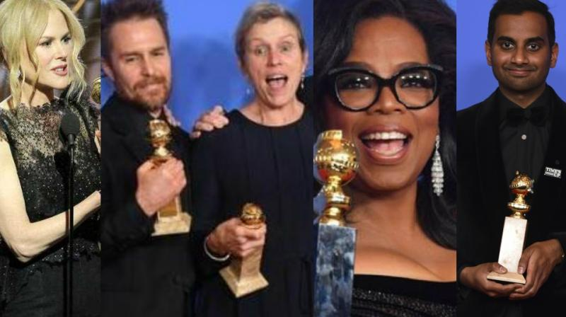 Image result for Golden Globes Ansari of Indian Origin, Nicole Kidman won Best Actress Award 2018 pics