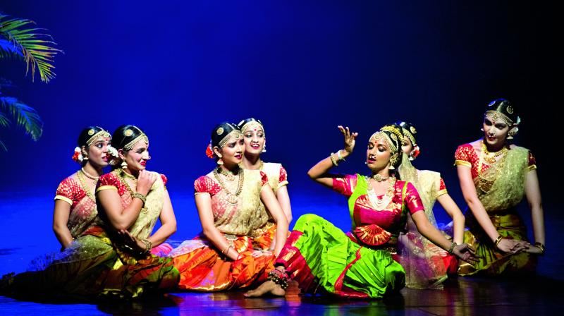 Yamini Reddy and troupe performing on stage.
