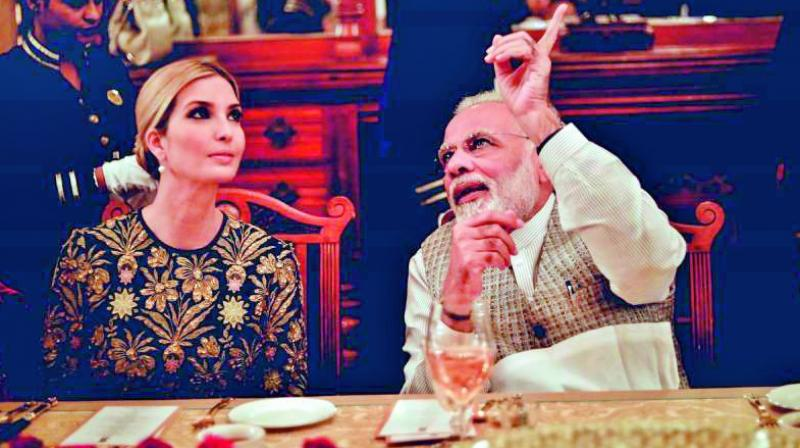 Prime Minister Narendra Modi hosted dinner for Ivanka Trump at Falaknuma Palace in Hyderabad. (Photo: DC)
