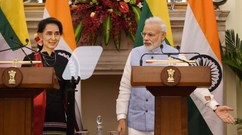 Prime Minister Narendra Modi with Myanmar State Counsellor and Foreign Minister Aung San Suu Kyi at a joint press statement at Hyderabad House, in New Delhi. (Photo: PTI)