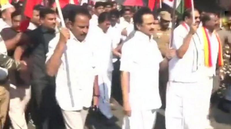 DMK holds protests against the hike in bus fare in Tamil Nadu. (Photo: ANI)