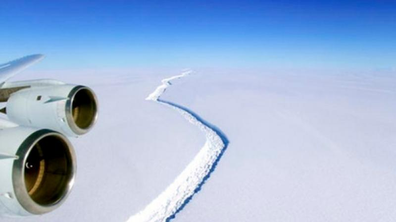 A crack in the Larsen C ice shelf, a drifting extension of the land-based ice sheet, finally broke through after inching its way across the frozen formation for years. (Photo: AP)