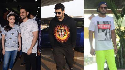 The glamorous Bollywood celebrities Ranveer Singh, Arjun Kapoor, Soha Ali Khan and husband Kunal Kemmu were clicked by the paparazzi in the city. (Photos: Viral Bhayani)
